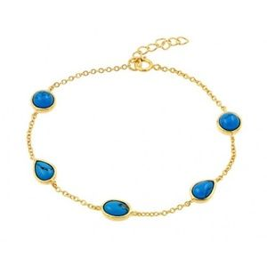 Jewelry - Gold Plated Blue Round and Teardrop CZ Bracelet